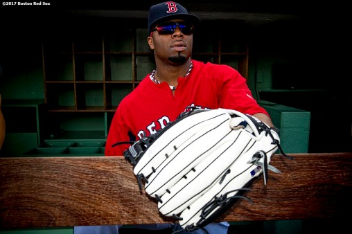 BOSTON, MA - SEPTEMBER 27: Rajai Davis #25 of the Boston Red Sox looks on before a game against the Toronto Blue Jays on September 27, 2017 at Fenway Park in Boston, Massachusetts. (Photo by Billie Weiss/Boston Red Sox/Getty Images) *** Local Caption *** Rajai Davis