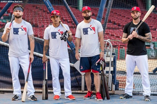 BOSTON, MA - SEPTEMBER 27: Sam Travis #59, Tzu-Wei Lin #5, Deven Marrero #17, and Blake Swihart #23of the Boston Red Sox pose before a game against the Toronto Blue Jays on September 27, 2017 at Fenway Park in Boston, Massachusetts. (Photo by Billie Weiss/Boston Red Sox/Getty Images) *** Local Caption *** Sam Travis; Tzu-Wei Lin; Deven Marrero; Blake Swihart