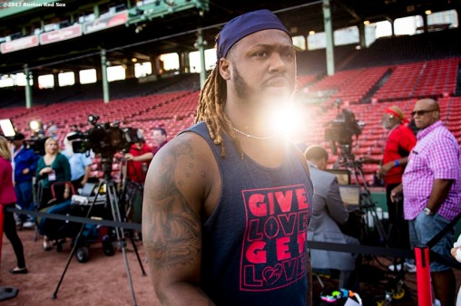 BOSTON, MA - SEPTEMBER 28: Hanley Ramirez #13 of the Boston Red Sox walks onto the field before a game against the Houston Astros on September 28, 2017 at Fenway Park in Boston, Massachusetts. (Photo by Billie Weiss/Boston Red Sox/Getty Images) *** Local Caption *** Hanley Ramirez