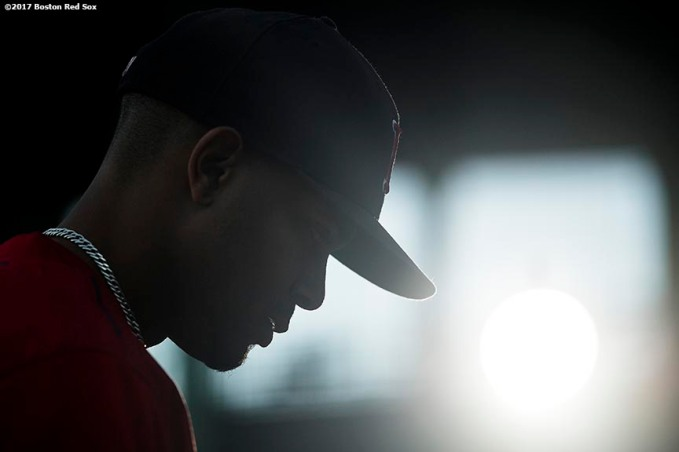 BOSTON, MA - SEPTEMBER 28: Xander Bogaerts #2 of the Boston Red Sox looks on before a game against the Houston Astros on September 28, 2017 at Fenway Park in Boston, Massachusetts. (Photo by Billie Weiss/Boston Red Sox/Getty Images) *** Local Caption *** Xander Bogaerts