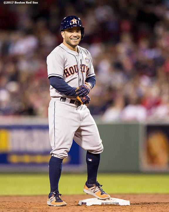 BOSTON, MA - SEPTEMBER 28: Jose Altuve #27 of the Houston Astros reacts after hitting a double during the second inning of a game against the Boston Red Sox on September 28, 2017 at Fenway Park in Boston, Massachusetts. (Photo by Billie Weiss/Boston Red Sox/Getty Images) *** Local Caption *** Jose Altuve