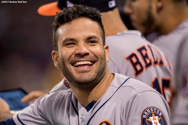 BOSTON, MA - SEPTEMBER 28: Jose Altuve #27 of the Houston Astros reacts during the fourth inning of a game against the Boston Red Sox on September 28, 2017 at Fenway Park in Boston, Massachusetts. (Photo by Billie Weiss/Boston Red Sox/Getty Images) *** Local Caption *** Jose Altuve