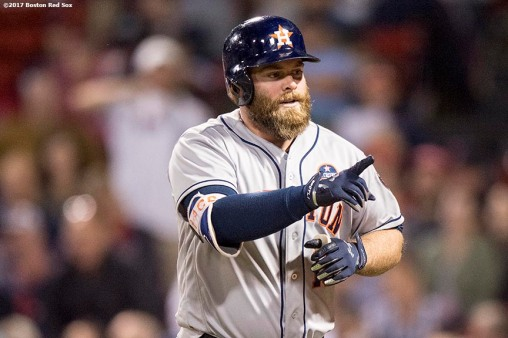 BOSTON, MA - SEPTEMBER 28: Brian McCann #16 of the Houston Astros reacts after hitting a solo home run during the sixth inning of a game against the Boston Red Sox on September 28, 2017 at Fenway Park in Boston, Massachusetts. (Photo by Billie Weiss/Boston Red Sox/Getty Images) *** Local Caption *** Brian McCann