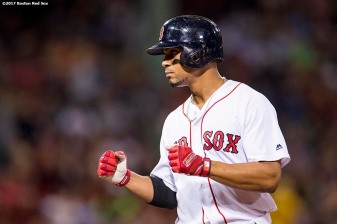 BOSTON, MA - SEPTEMBER 27: Xander Bogaerts #2 of the Boston Red Sox reacts after hitting an RBI single during the second inning of a game against the Toronto Blue Jays on September 27, 2017 at Fenway Park in Boston, Massachusetts. (Photo by Billie Weiss/Boston Red Sox/Getty Images) *** Local Caption *** Xander Bogaerts