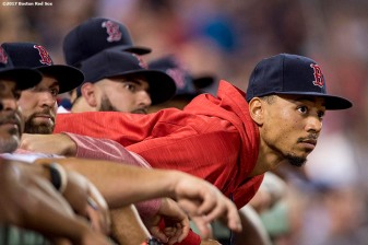 BOSTON, MA - SEPTEMBER 27: Mookie Betts #50 of the Boston Red Sox watches an instant replay review during the second inning of a game against the Toronto Blue Jays on September 27, 2017 at Fenway Park in Boston, Massachusetts. (Photo by Billie Weiss/Boston Red Sox/Getty Images) *** Local Caption *** Mookie Betts