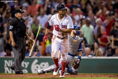 BOSTON, MA - SEPTEMBER 27: Xander Bogaerts #2 of the Boston Red Sox hits a three run home run during the third inning of a game against the Toronto Blue Jays on September 27, 2017 at Fenway Park in Boston, Massachusetts. (Photo by Billie Weiss/Boston Red Sox/Getty Images) *** Local Caption *** Xander Bogaerts