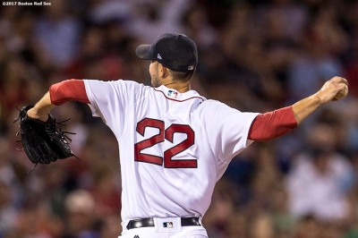 BOSTON, MA - SEPTEMBER 27: Rick Porcello #22 of the Boston Red Sox delivers during the sixth inning of a game against the Toronto Blue Jays on September 27, 2017 at Fenway Park in Boston, Massachusetts. (Photo by Billie Weiss/Boston Red Sox/Getty Images) *** Local Caption *** Rick Porcello