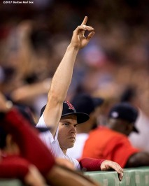 BOSTON, MA - SEPTEMBER 27: Brock Holt #12 of the Boston Red Sox reacts during the seventh inning of a game against the Toronto Blue Jays on September 27, 2017 at Fenway Park in Boston, Massachusetts. (Photo by Billie Weiss/Boston Red Sox/Getty Images) *** Local Caption *** Brock Holt