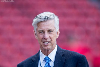 BOSTON, MA - SEPTEMBER 29: President of Baseball Operations Dave Dombrowski of the Boston Red Sox looks on before a game against the Houston Astros on September 29, 2017 at Fenway Park in Boston, Massachusetts. (Photo by Billie Weiss/Boston Red Sox/Getty Images) *** Local Caption *** Dave Dombrowski