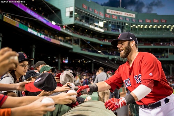 BOSTON, MA - SEPTEMBER 29: Dustin Pedroia #15 of the Boston Red Sox signs autographs before a game against the Houston Astros on September 29, 2017 at Fenway Park in Boston, Massachusetts. (Photo by Billie Weiss/Boston Red Sox/Getty Images) *** Local Caption *** Dustin Pedroia