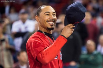BOSTON, MA - SEPTEMBER 29: Mookie Betts #50 of the Boston Red Sox reacts before a game against the Houston Astros on September 29, 2017 at Fenway Park in Boston, Massachusetts. (Photo by Billie Weiss/Boston Red Sox/Getty Images) *** Local Caption *** Mookie Betts