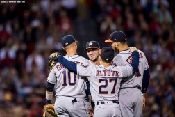 BOSTON, MA - SEPTEMBER 29: Members of the Houston Astros huddle together during the sixth inning of a game against the Boston Red Sox on September 29, 2017 at Fenway Park in Boston, Massachusetts. (Photo by Billie Weiss/Boston Red Sox/Getty Images) *** Local Caption ***