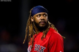 BOSTON, MA - SEPTEMBER 29: Hanley Ramirez #13 of the Boston Red Sox looks on after grounding out with the bases loaded during the sixth inning of a game against the Houston Astros on September 29, 2017 at Fenway Park in Boston, Massachusetts. (Photo by Billie Weiss/Boston Red Sox/Getty Images) *** Local Caption *** Hanley Ramirez