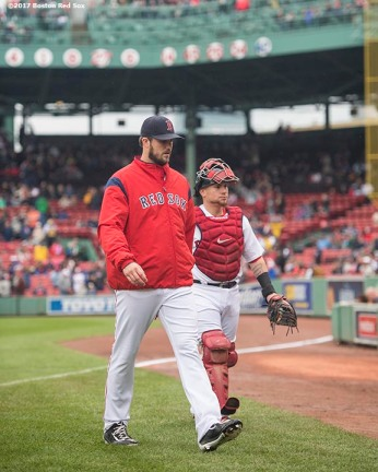 BOSTON, MA - SEPTEMBER 30: Drew Pomeranz #31 and Christian Vazquez #7 of the Boston Red Sox walk toward the dugout before a game against the Houston Astros on September 30, 2017 at Fenway Park in Boston, Massachusetts. (Photo by Billie Weiss/Boston Red Sox/Getty Images) *** Local Caption *** Drew Pomeranz; Christian Vazquez