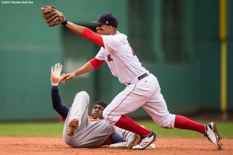 BOSTON, MA - SEPTEMBER 30: Xander Bogaerts #2 of the Boston Red Sox tags out Cameron Maybin #3 of the Houston Astros as he attempts to steal during the fifth inning of a game on September 30, 2017 at Fenway Park in Boston, Massachusetts. (Photo by Billie Weiss/Boston Red Sox/Getty Images) *** Local Caption *** Xander Bogaerts; Cameron Maybin