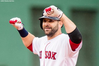BOSTON, MA - SEPTEMBER 30: Mitch Moreland #18 of the Boston Red Sox reacts after hitting an RBI double during the fifth inning of a game against the Houston Astros on September 30, 2017 at Fenway Park in Boston, Massachusetts. (Photo by Billie Weiss/Boston Red Sox/Getty Images) *** Local Caption *** Mitch Moreland
