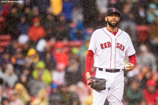 BOSTON, MA - SEPTEMBER 30: David Price #24 of the Boston Red Sox reacts during the seventh inning of a game against the Houston Astros on September 30, 2017 at Fenway Park in Boston, Massachusetts. (Photo by Billie Weiss/Boston Red Sox/Getty Images) *** Local Caption *** David Price