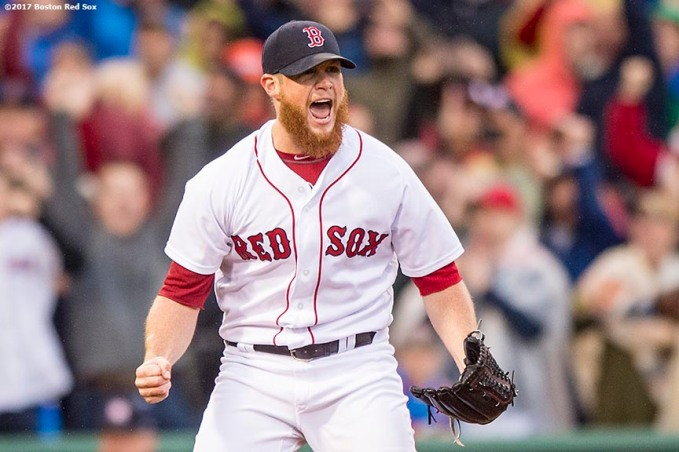 BOSTON, MA - SEPTEMBER 30: Craig Kimbrel #46 of the Boston Red Sox reacts as he records the final out to clinch the American League East Division against the Houston Astros on September 30, 2017 at Fenway Park in Boston, Massachusetts. (Photo by Billie Weiss/Boston Red Sox/Getty Images) *** Local Caption *** Craig Kimbrel