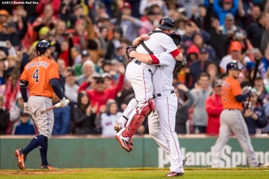 BOSTON, MA - SEPTEMBER 30: Craig Kimbrel #46 of the Boston Red Sox reacts with Christian Vazquez #7 as he records the final out to clinch the American League East Division against the Houston Astros on September 30, 2017 at Fenway Park in Boston, Massachusetts. (Photo by Billie Weiss/Boston Red Sox/Getty Images) *** Local Caption *** Craig Kimbrel; Christian Vazquez