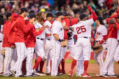 BOSTON, MA - SEPTEMBER 30: Members of the Boston Red Sox react after the final out was recorded to clinch the American League East Division against the Houston Astros on September 30, 2017 at Fenway Park in Boston, Massachusetts. (Photo by Billie Weiss/Boston Red Sox/Getty Images) *** Local Caption ***