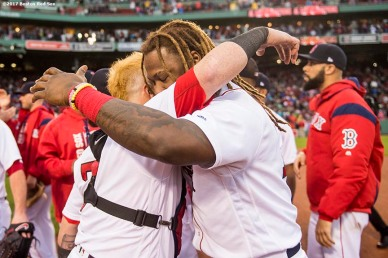 BOSTON, MA - SEPTEMBER 30: Hanley Ramirez #13 and Christian Vazquez #7 of the Boston Red Sox react after the final out was recorded to clinch the American League East Division against the Houston Astros on September 30, 2017 at Fenway Park in Boston, Massachusetts. (Photo by Billie Weiss/Boston Red Sox/Getty Images) *** Local Caption *** Hanley Ramirez; Christian Vazquez