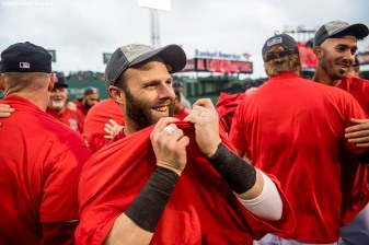 BOSTON, MA - SEPTEMBER 30: Dustin Pedroia #15 of the Boston Red Sox reacts after the final out was recorded to clinch the American League East Division against the Houston Astros on September 30, 2017 at Fenway Park in Boston, Massachusetts. (Photo by Billie Weiss/Boston Red Sox/Getty Images) *** Local Caption *** Dustin Pedroia
