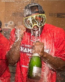BOSTON, MA - SEPTEMBER 30: Eduardo Nunez #36 celebrates in the clubhouse after clinching the American League East Division against the Houston Astros on September 30, 2017 at Fenway Park in Boston, Massachusetts. (Photo by Billie Weiss/Boston Red Sox/Getty Images) *** Local Caption *** Eduardo Nunez