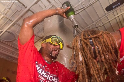 BOSTON, MA - SEPTEMBER 30: Eduardo Nunez #36 and Hanley Ramirez #13 of the Boston Red Sox celebrates in the clubhouse after clinching the American League East Division against the Houston Astros on September 30, 2017 at Fenway Park in Boston, Massachusetts. (Photo by Billie Weiss/Boston Red Sox/Getty Images) *** Local Caption *** Eduardo Nunez; Hanley Ramirez