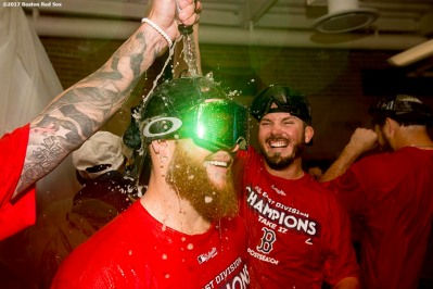 BOSTON, MA - SEPTEMBER 30: Craig Kimbrel #46 of the Boston Red Sox celebrates in the clubhouse after clinching the American League East Division against the Houston Astros on September 30, 2017 at Fenway Park in Boston, Massachusetts. (Photo by Billie Weiss/Boston Red Sox/Getty Images) *** Local Caption *** Craig Kimbrel