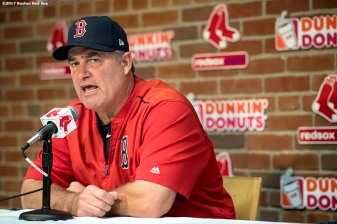 BOSTON, MA - OCTOBER 3: Manager John Farrell of the Boston Red Sox addresses the media during a press conference during a workout before the American League Division Series against the Houston Astros on October 3, 2017 at Fenway Park in Boston, Massachusetts. (Photo by Billie Weiss/Boston Red Sox/Getty Images) *** Local Caption *** John Farrell