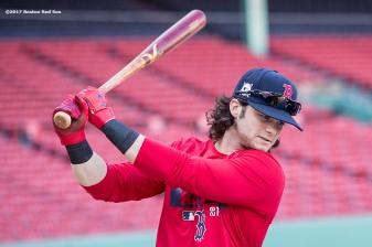 BOSTON, MA - OCTOBER 3: Andrew Benintendi #16 of the Boston Red Sox warms up during a workout before the American League Division Series against the Houston Astros on October 3, 2017 at Fenway Park in Boston, Massachusetts. (Photo by Billie Weiss/Boston Red Sox/Getty Images) *** Local Caption *** Andrew Benintendi