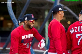 BOSTON, MA - OCTOBER 3: Eduardo Nunez #36 of the Boston Red Sox reacts with teammates during a workout before the American League Division Series against the Houston Astros on October 3, 2017 at Fenway Park in Boston, Massachusetts. (Photo by Billie Weiss/Boston Red Sox/Getty Images) *** Local Caption *** Eduardo Nunez