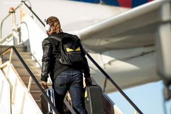 BOSTON, MA - OCTOBER 3: Hanley Ramirez #13 of the Boston Red Sox boards the plane to Houston before the American League Division Series against the Houston Astros on October 3, 2017 at Fenway Park in Boston, Massachusetts. (Photo by Billie Weiss/Boston Red Sox/Getty Images) *** Local Caption *** Hanley Ramirez