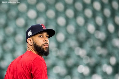 HOUSTON, TX - OCTOBER 4: David Price #24 of the Boston Red Sox looks on during a workout before the American League Division Series against the Houston Astros on October 4, 2017 at Minute Maid Park in Houston, Texas. (Photo by Billie Weiss/Boston Red Sox/Getty Images) *** Local Caption *** David Price