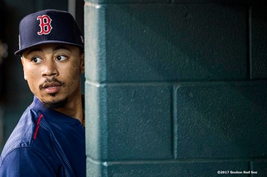 HOUSTON, TX - OCTOBER 4: Mookie Betts #50 of the Boston Red Sox looks on during a workout before the American League Division Series against the Houston Astros on October 4, 2017 at Minute Maid Park in Houston, Texas. (Photo by Billie Weiss/Boston Red Sox/Getty Images) *** Local Caption *** Mookie Betts