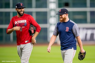 HOUSTON, TX - OCTOBER 4: David Price #24 and Craig Kimbrel #46 of the Boston Red Sox react during a workout before the American League Division Series against the Houston Astros on October 4, 2017 at Minute Maid Park in Houston, Texas. (Photo by Billie Weiss/Boston Red Sox/Getty Images) *** Local Caption *** David Price; Craig Kimbrel