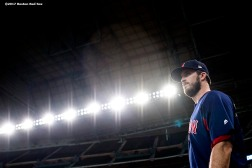 HOUSTON, TX - OCTOBER 4: Drew Pomeranz #31 of the Boston Red Sox looks on during a workout before the American League Division Series against the Houston Astros on October 4, 2017 at Minute Maid Park in Houston, Texas. (Photo by Billie Weiss/Boston Red Sox/Getty Images) *** Local Caption *** Drew Pomeranz