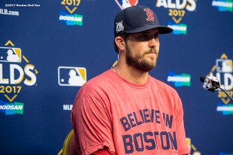 HOUSTON, TX - OCTOBER 5: Drew Pomeranz #31 of the Boston Red Sox addresses the media during a press conference before game one of the American League Division Series against the Houston Astros on October 5, 2017 at Minute Maid Park in Houston, Texas. (Photo by Billie Weiss/Boston Red Sox/Getty Images) *** Local Caption *** Drew Pomeranz