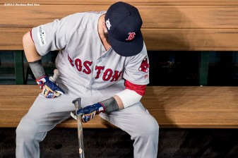HOUSTON, TX - OCTOBER 5: Dustin Pedroia #15 of the Boston Red Sox sits in the dugout before game one of the American League Division Series against the Houston Astros on October 5, 2017 at Minute Maid Park in Houston, Texas. (Photo by Billie Weiss/Boston Red Sox/Getty Images) *** Local Caption *** Dustin Pedroia