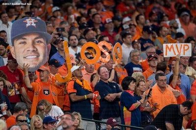 HOUSTON, TX - OCTOBER 5: Fans show support for Jose Altuve #27 of the Houston Astros during game one of the American League Division Series against the Boston Red Sox on October 5, 2017 at Minute Maid Park in Houston, Texas. It was his third home run of the game. (Photo by Billie Weiss/Boston Red Sox/Getty Images) *** Local Caption *** Jose Altuve