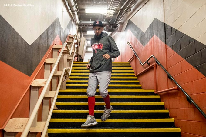 HOUSTON, TX - OCTOBER 5: David Price #24 of the Boston Red Sox walks down the stairs before game one of the American League Division Series against the Houston Astros on October 5, 2017 at Minute Maid Park in Houston, Texas. (Photo by Billie Weiss/Boston Red Sox/Getty Images) *** Local Caption *** David Price