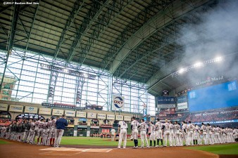 HOUSTON, TX - OCTOBER 5: Starting lineups are introduced before game one of the American League Division Series between the Boston Red Sox and the Houston Astros on October 5, 2017 at Minute Maid Park in Houston, Texas. (Photo by Billie Weiss/Boston Red Sox/Getty Images) *** Local Caption ***
