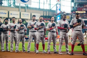 HOUSTON, TX - OCTOBER 5: The starting lineup of the Boston Red Sox is introduced before game one of the American League Division Series against the Houston Astros on October 5, 2017 at Minute Maid Park in Houston, Texas. (Photo by Billie Weiss/Boston Red Sox/Getty Images) *** Local Caption ***