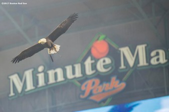 HOUSTON, TX - OCTOBER 5: A bald eagle is flown before game one of the American League Division Series between the Boston Red Sox and the Houston Astros on October 5, 2017 at Minute Maid Park in Houston, Texas. (Photo by Billie Weiss/Boston Red Sox/Getty Images) *** Local Caption ***