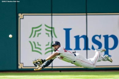 HOUSTON, TX - OCTOBER 5: Jackie Bradley Jr. #19 of the Boston Red Sox attempts to make a diving catch during the fourth inning of game one of the American League Division Series against the Houston Astros on October 5, 2017 at Minute Maid Park in Houston, Texas. The play was ruled a catch and later overruled. (Photo by Billie Weiss/Boston Red Sox/Getty Images) *** Local Caption *** Jackie Bradley Jr.