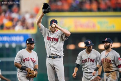 HOUSTON, TX - OCTOBER 5: Chris Sale #41 of the Boston Red Sox reacts as he exits the game during the sixth inning of game one of the American League Division Series against the Houston Astros on October 5, 2017 at Minute Maid Park in Houston, Texas. (Photo by Billie Weiss/Boston Red Sox/Getty Images) *** Local Caption *** Chris Sale