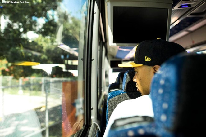 HOUSTON, TX - OCTOBER 6: Mookie Betts #50 of the Boston Red Sox looks out the window on the bus before game two of the American League Division Series against the Houston Astros on October 6, 2017 at Minute Maid Park in Houston, Texas. (Photo by Billie Weiss/Boston Red Sox/Getty Images) *** Local Caption *** Mookie Betts
