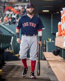 HOUSTON, TX - OCTOBER 6: Dustin Pedroia #15 of the Boston Red Sox walks through the dugout before game two of the American League Division Series against the Houston Astros on October 6, 2017 at Minute Maid Park in Houston, Texas. (Photo by Billie Weiss/Boston Red Sox/Getty Images) *** Local Caption *** Dustin Pedroia
