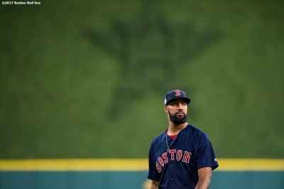 HOUSTON, TX - OCTOBER 6: Chris Young #30 of the Boston Red Sox looks on before game two of the American League Division Series against the Houston Astros on October 6, 2017 at Minute Maid Park in Houston, Texas. (Photo by Billie Weiss/Boston Red Sox/Getty Images) *** Local Caption *** Chris Young