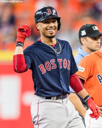 HOUSTON, TX - OCTOBER 6: Mookie Betts #50 of the Boston Red Sox reacts after hitting a double during the first inning of game two of the American League Division Series against the Houston Astros on October 6, 2017 at Minute Maid Park in Houston, Texas. (Photo by Billie Weiss/Boston Red Sox/Getty Images) *** Local Caption *** Mookie Betts